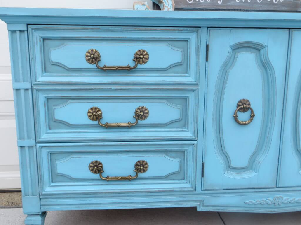 Dixie Belle Blue Dresser detail