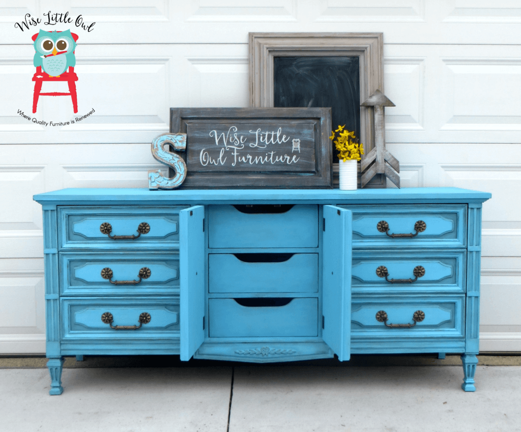 Dixie Belle Blue dresser doors open