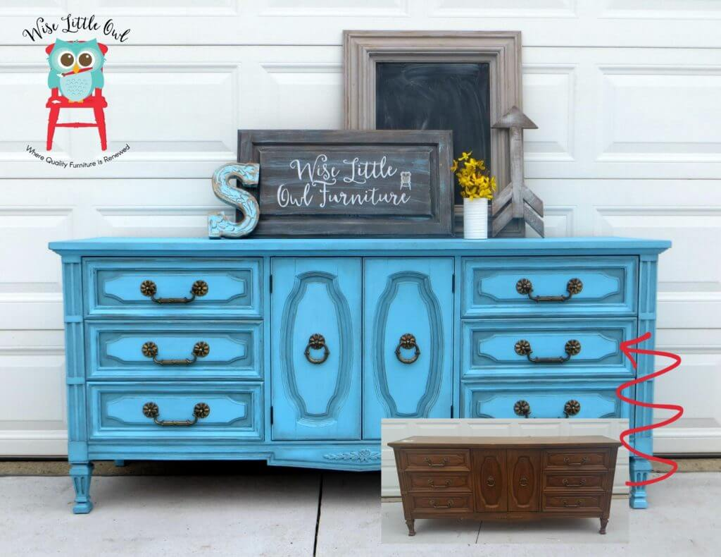 Dixie Blue Dresser before and after
