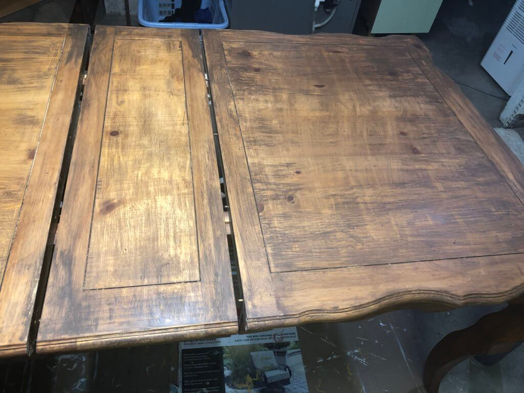 progress on table with stain