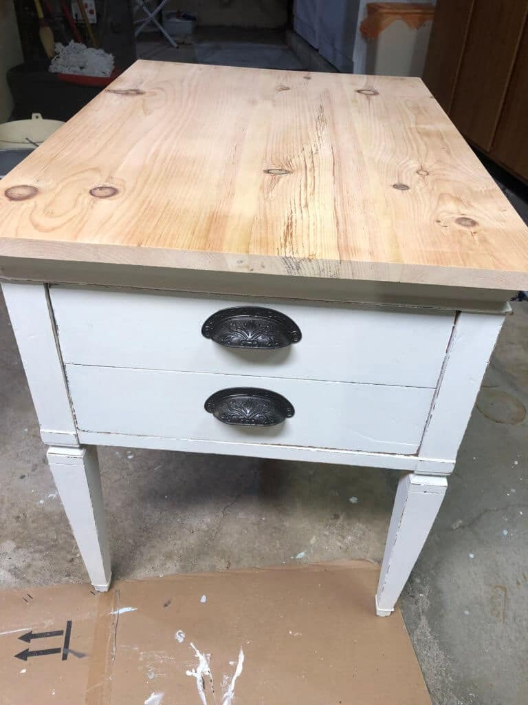 End table raw top