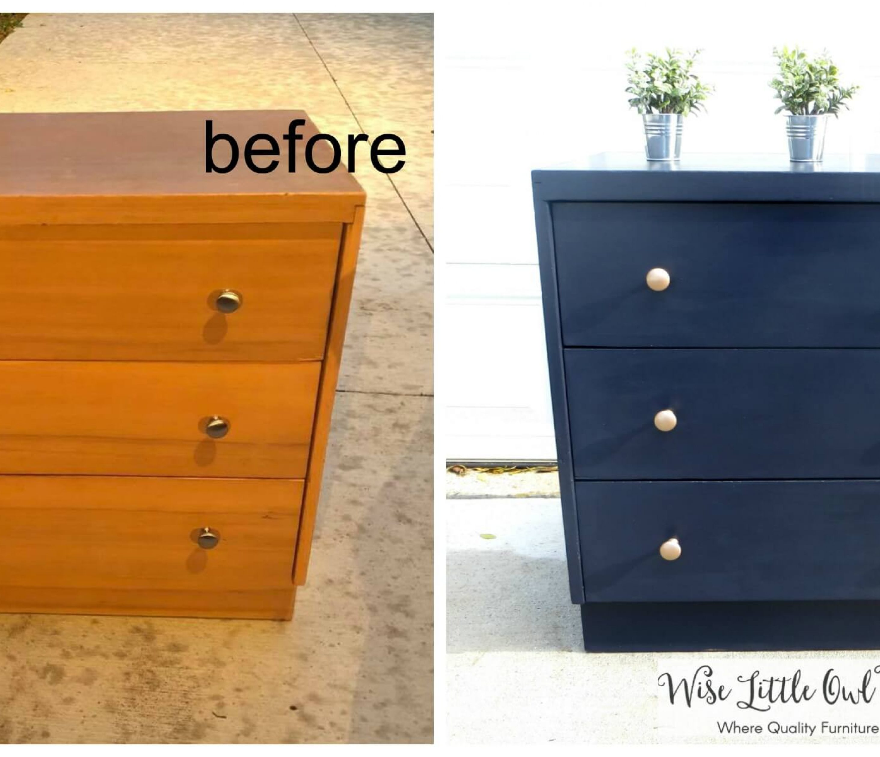 Picture of: Classy Small Dresser Makeover Navy And Rose Gold Wise Little Owl Furniture
