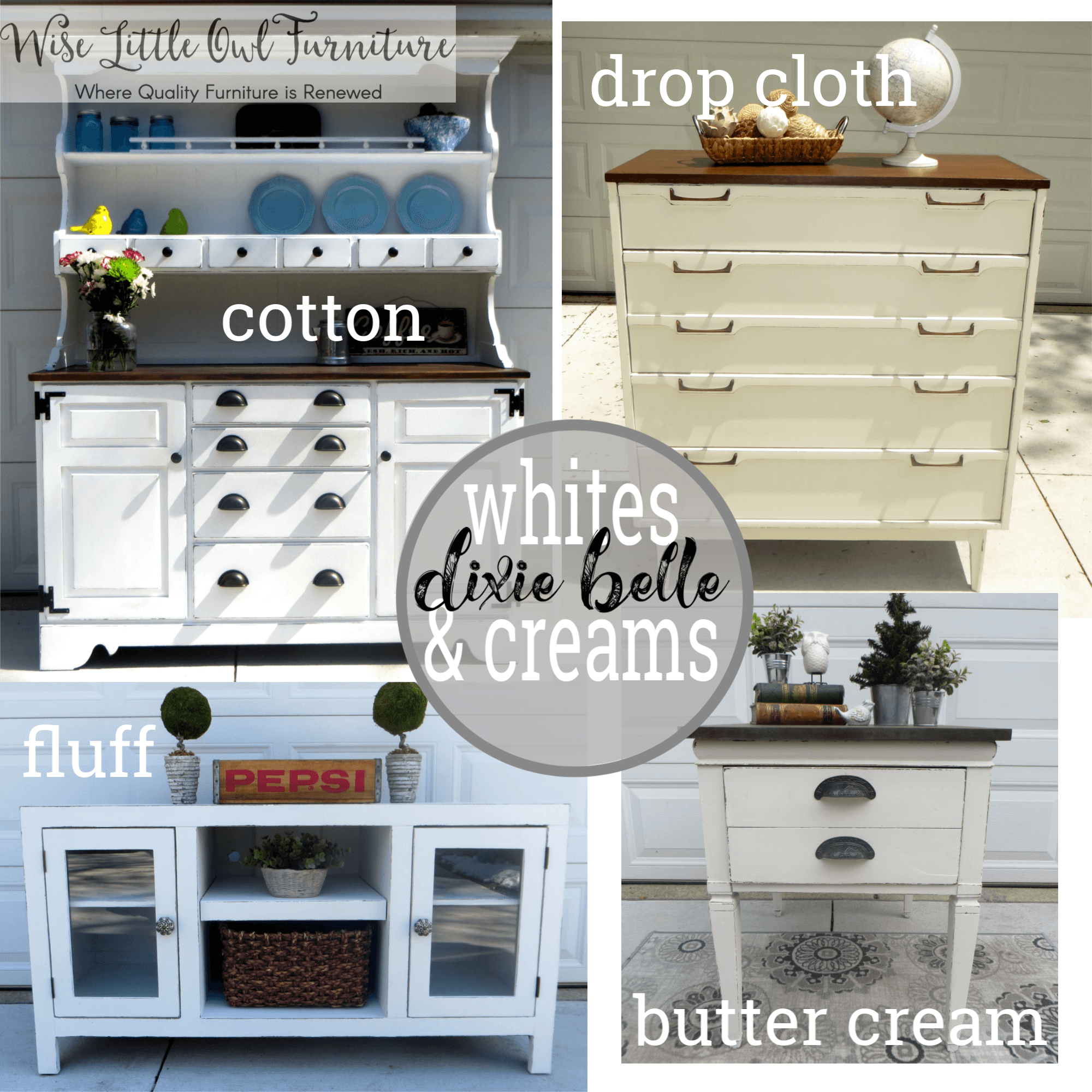 White Cream Painted Furniture With Dixie Belle Chalk Mineral