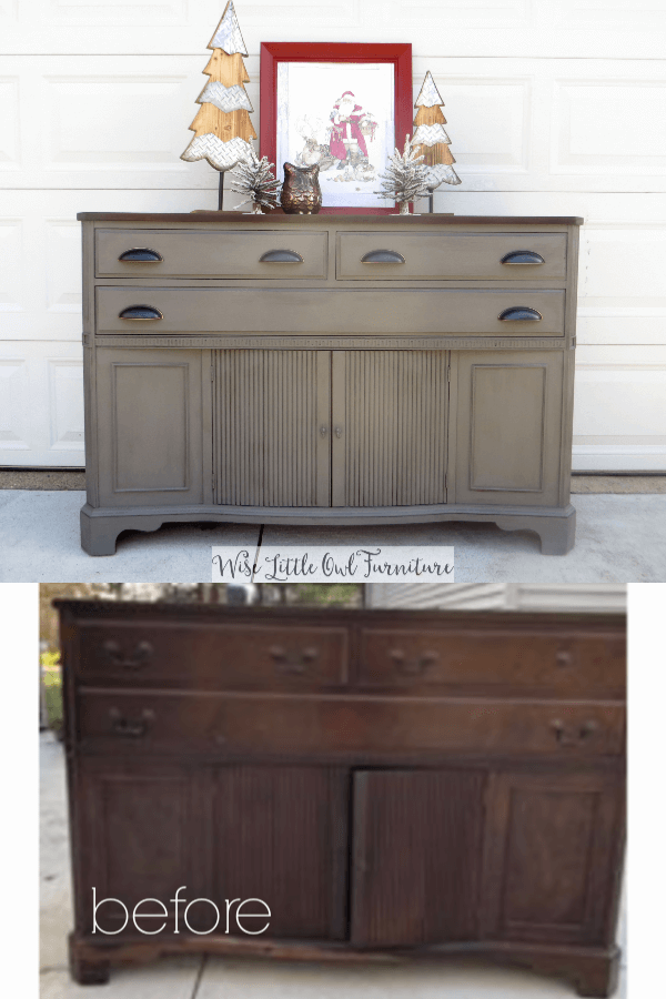 gray buffet before & after