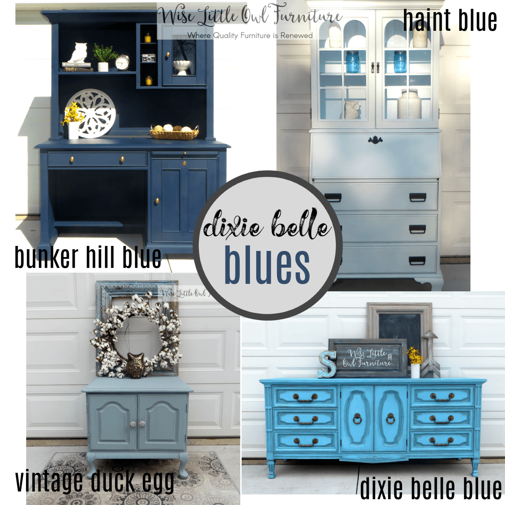 Blue Painted Furniture With Dixie Belle Chalk Mineral Paint Wise Little Owl Furniture
