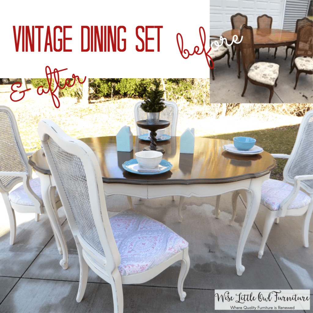 Gayle's dining set before & after