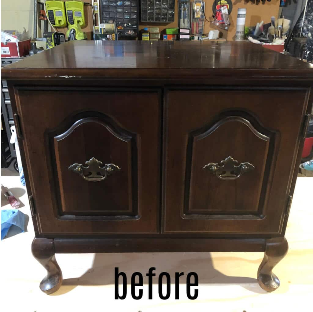 vintage end table before