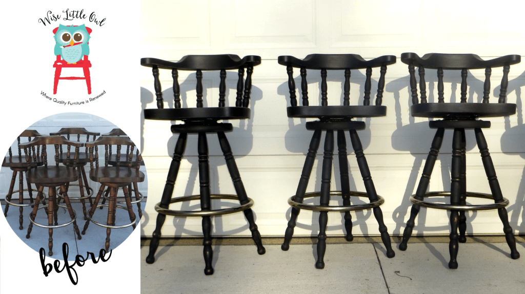 kitchen stools before & after