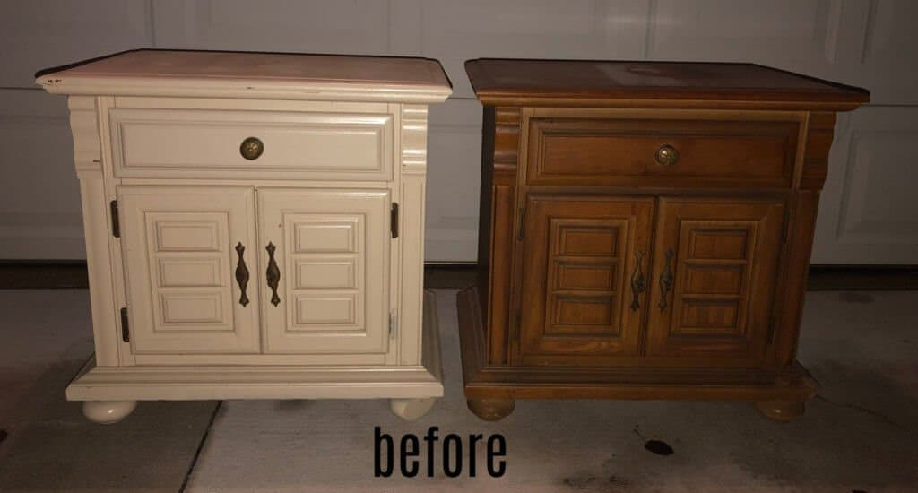 mis-matched nightstands before