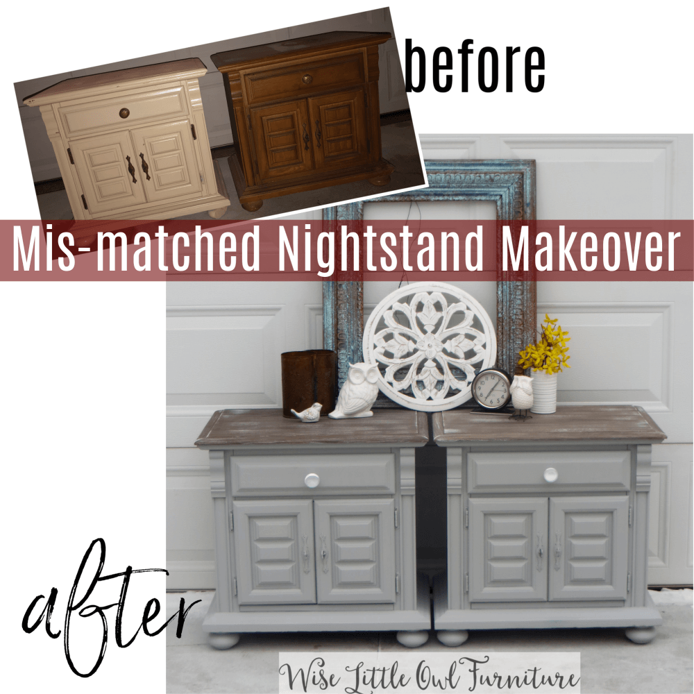 mismatched nightstand makeover