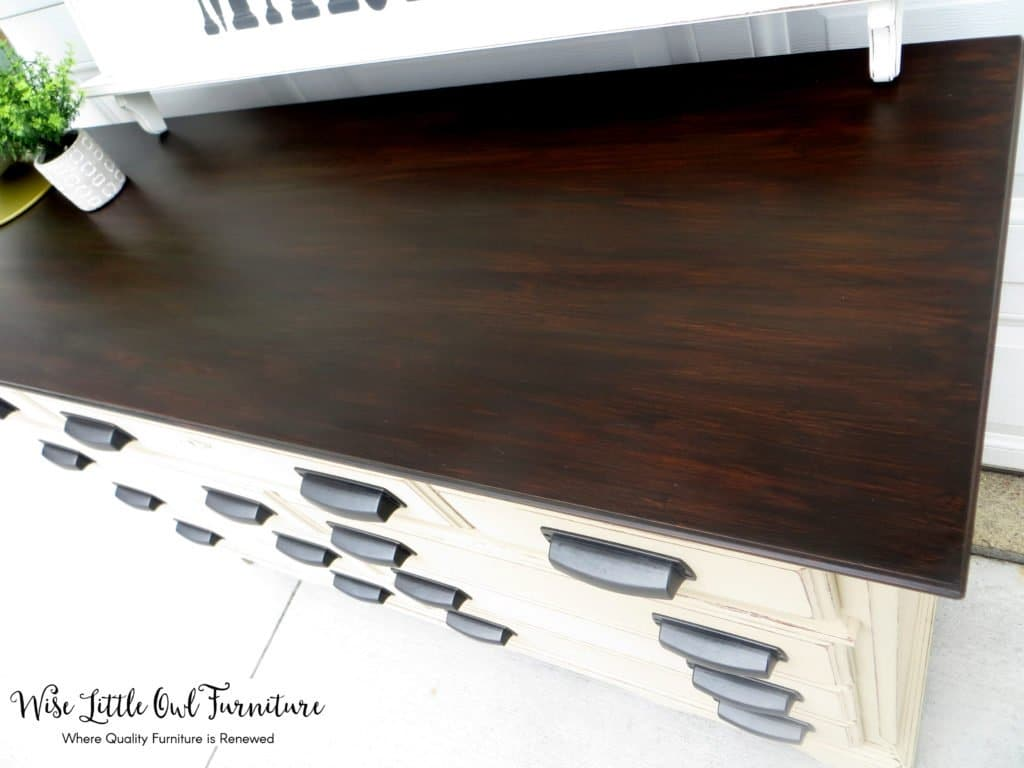 farmhouse dresser stained top