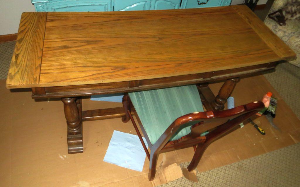 trestle desk before