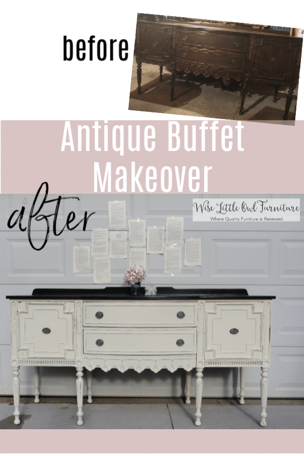antique buffet before & after