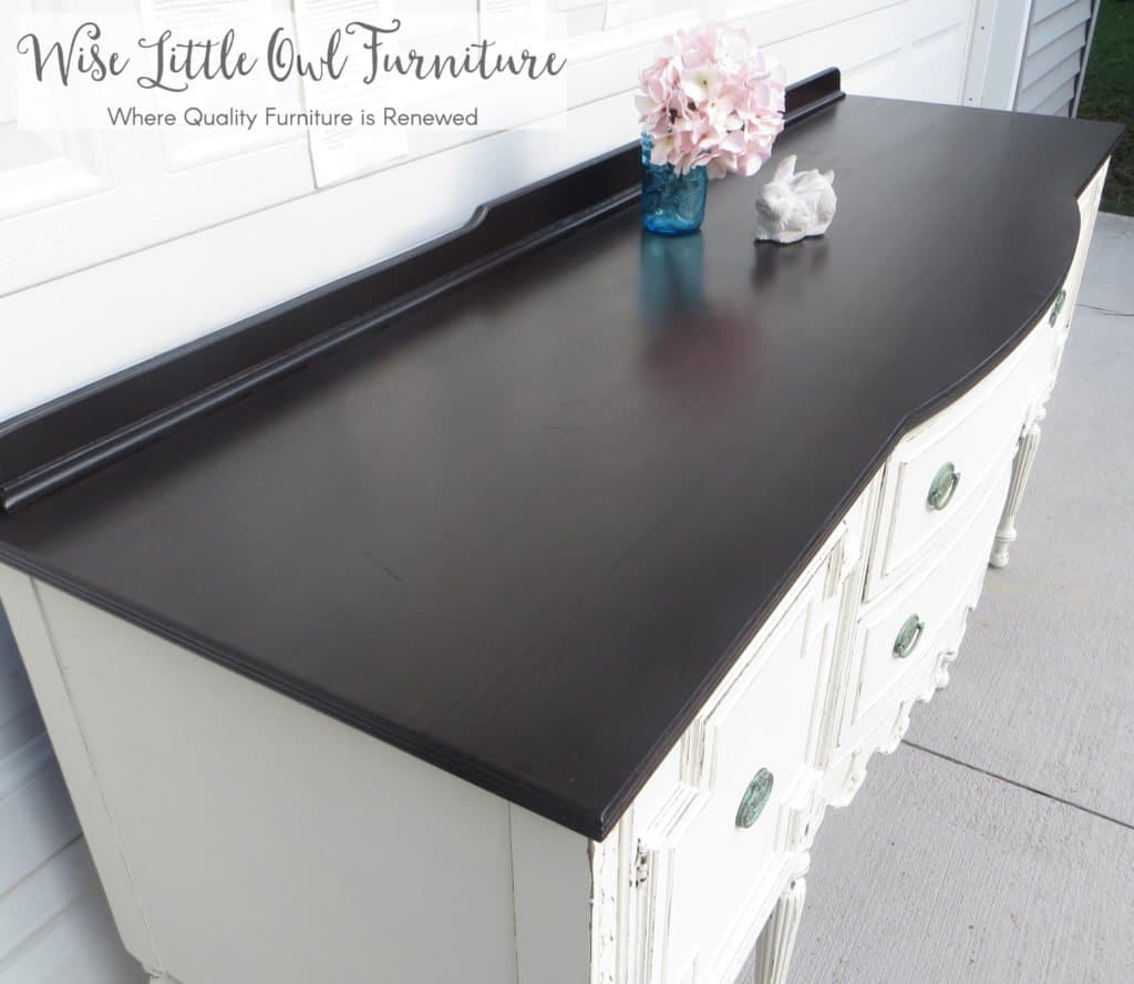 antique buffet stained top