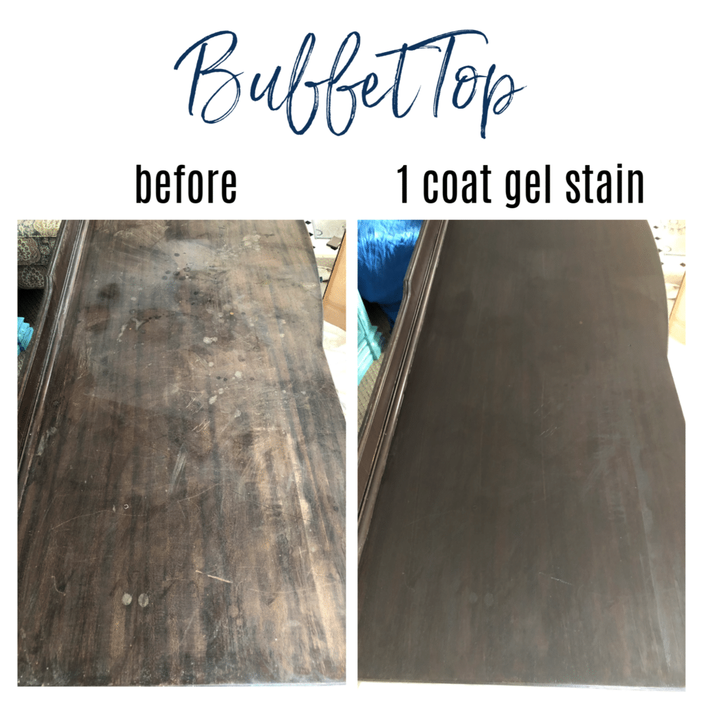 antique buffet top before & after
