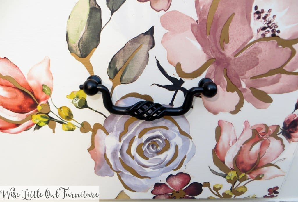 floral dresser black pull