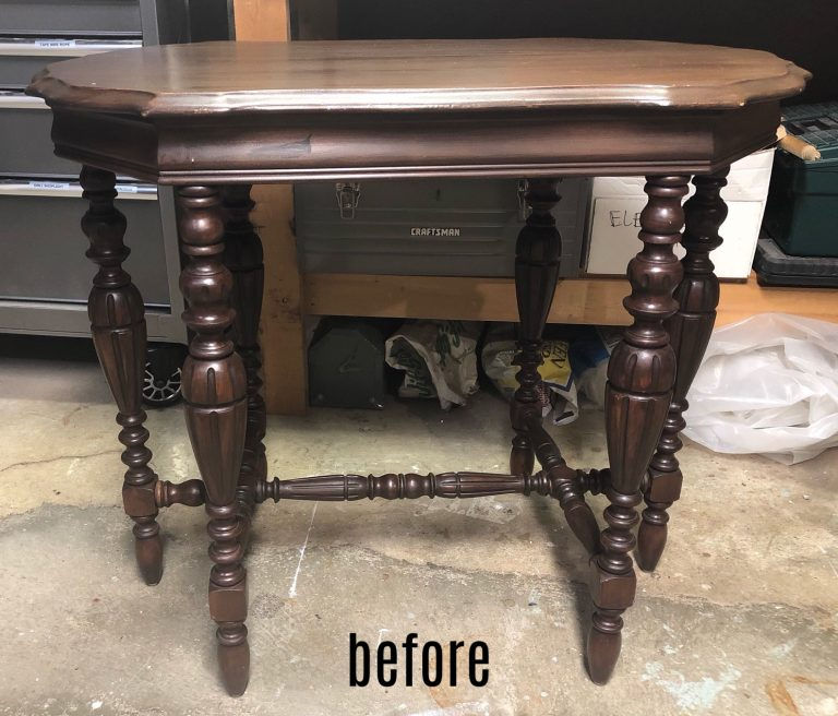 french linen entry table before