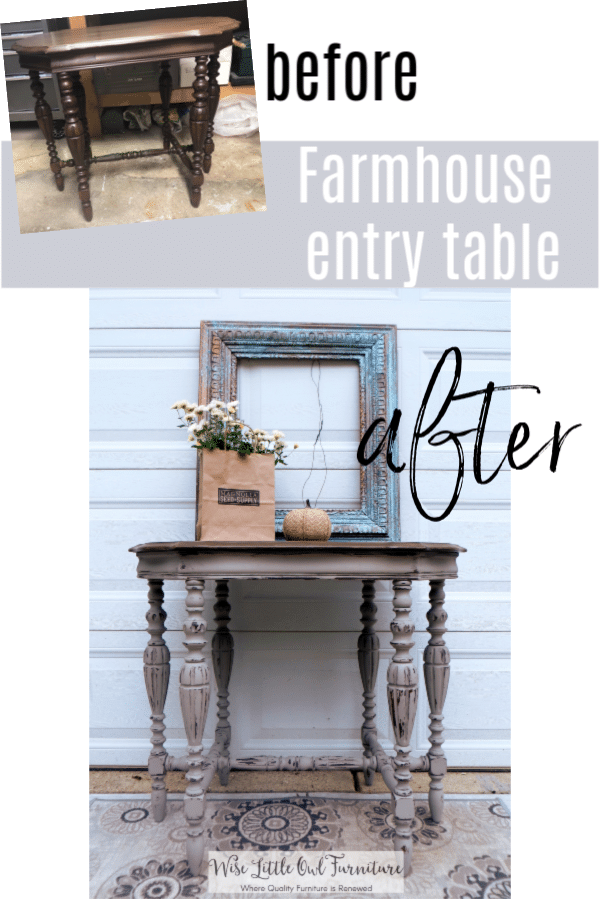 french linen entry table before and after