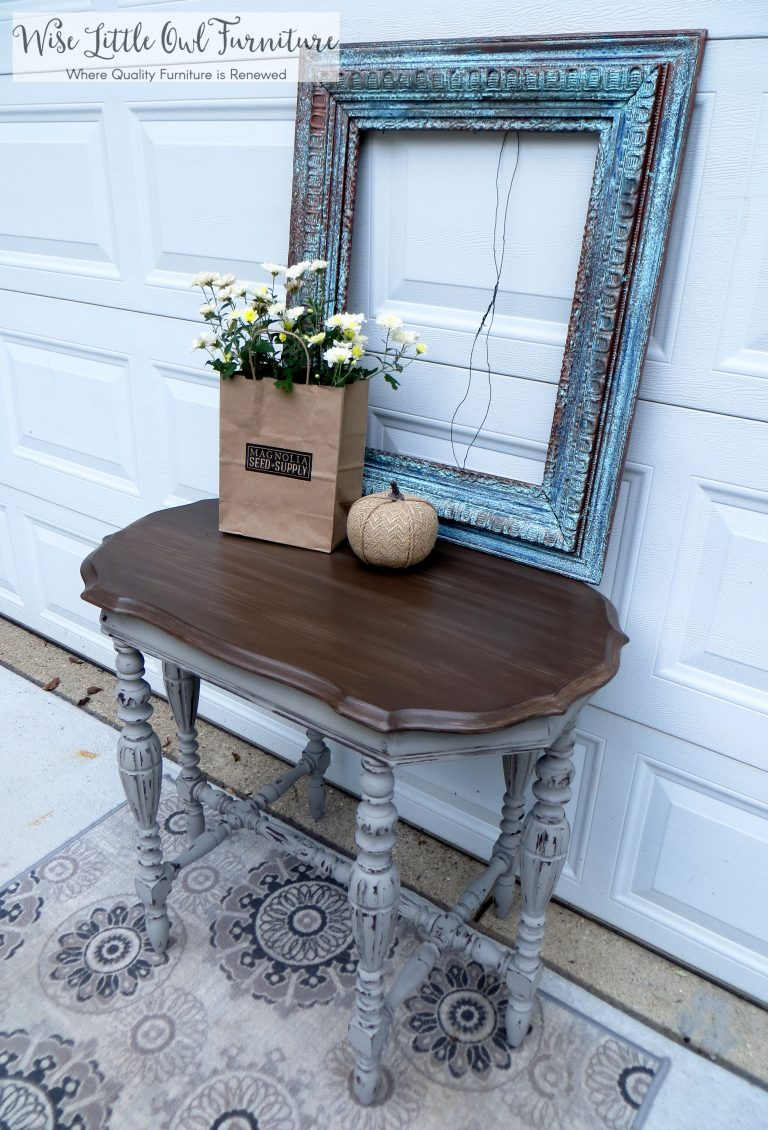 french linen entry table side