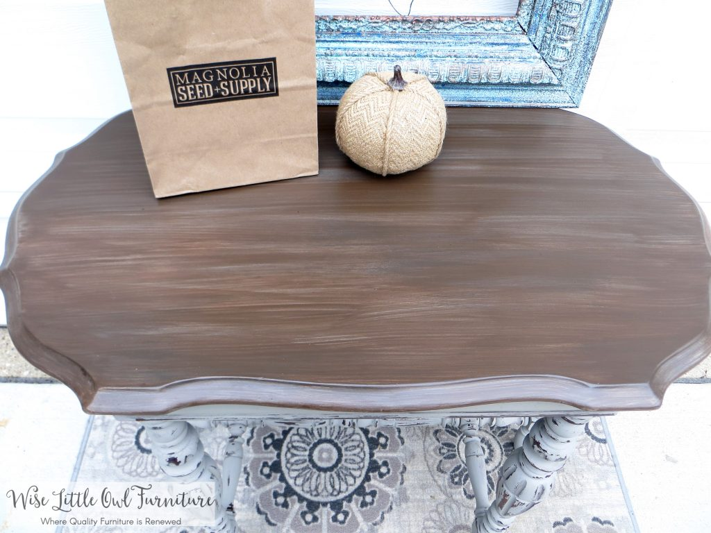 french linen entry table top