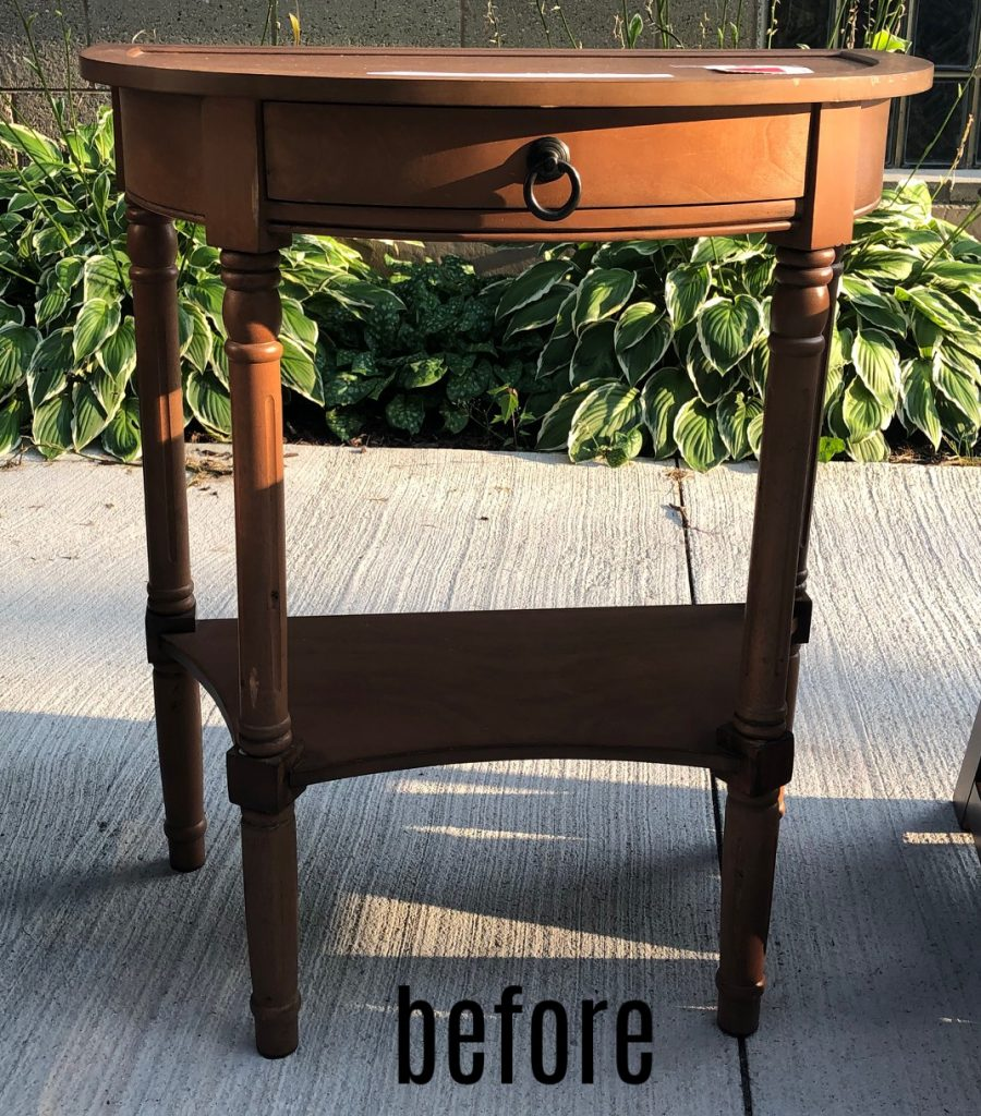 half round accent table before