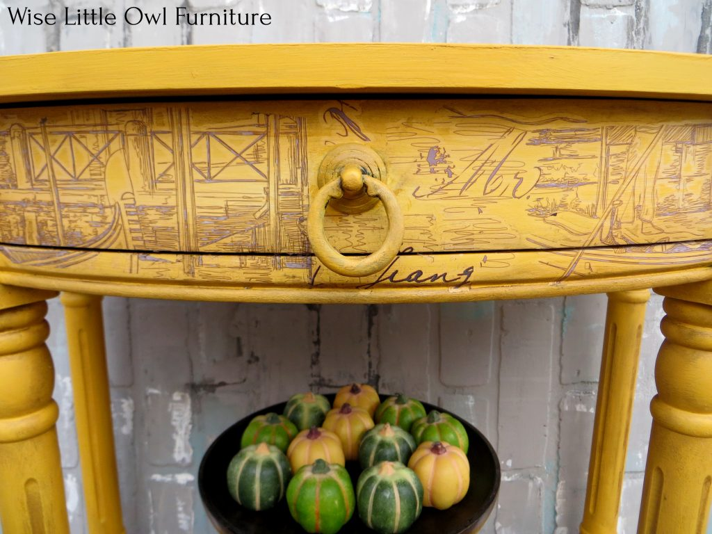 yellow accent table center drawer