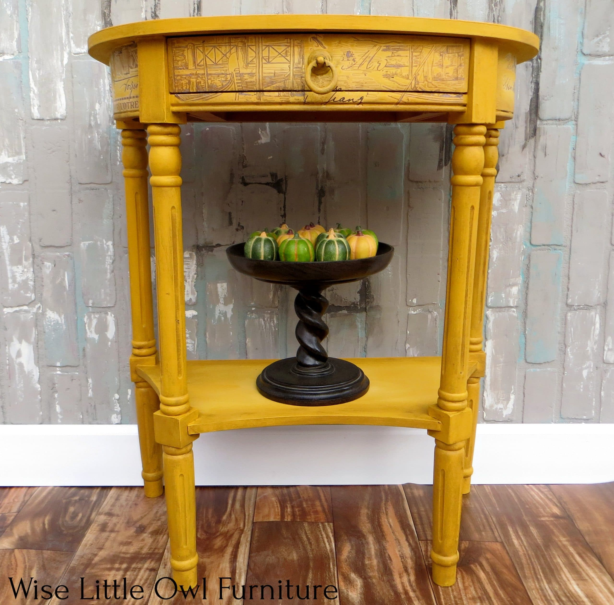 - Accent Table Makeover In Yellow Wise Little Owl Furniture