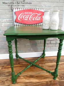 green table with glaze