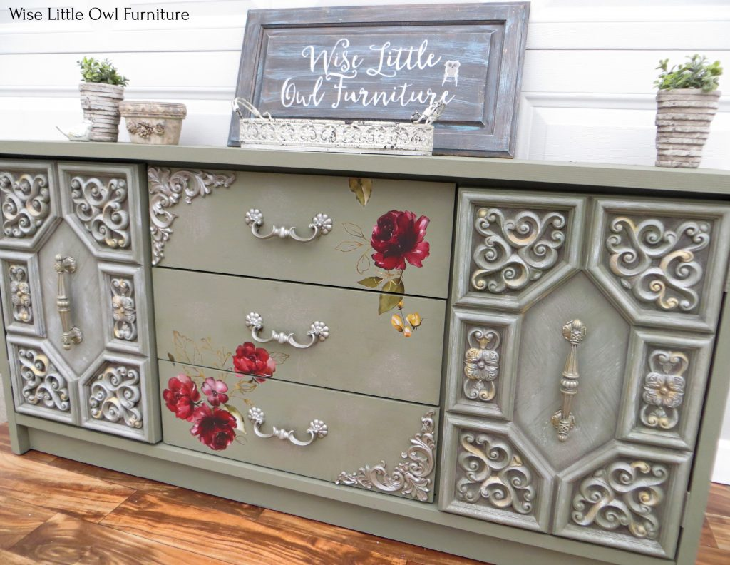 green dresser with mouldings