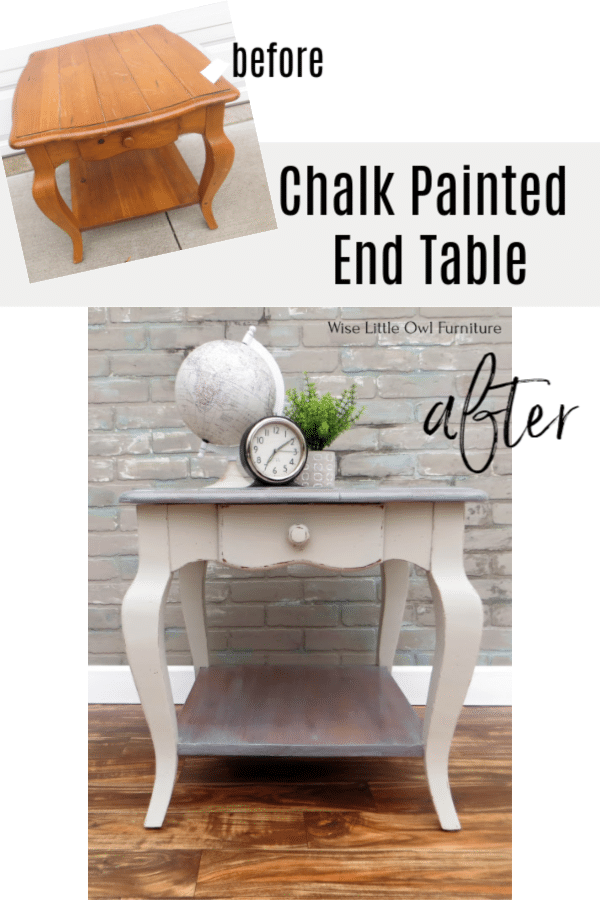 chalk painted end table pinterest