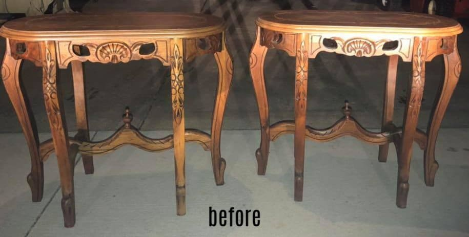 shabby chic side tables before