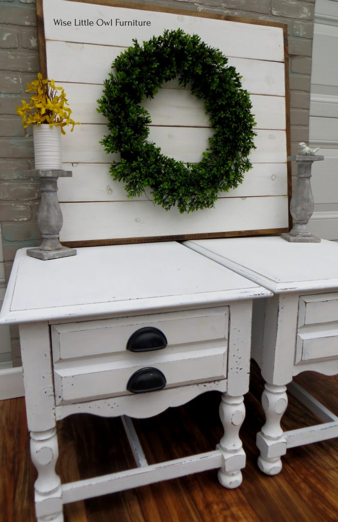 chalk painted end tables side view
