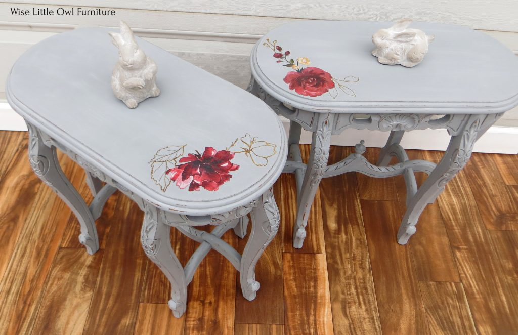 pair of shabby chic side tables