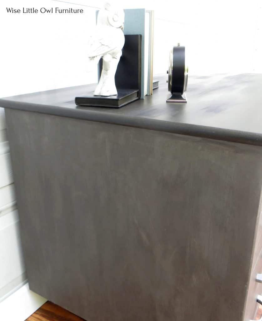 brushed metal desk side