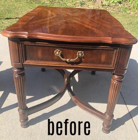 metallic table before
