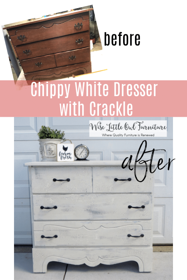 white chippy crackle dresser