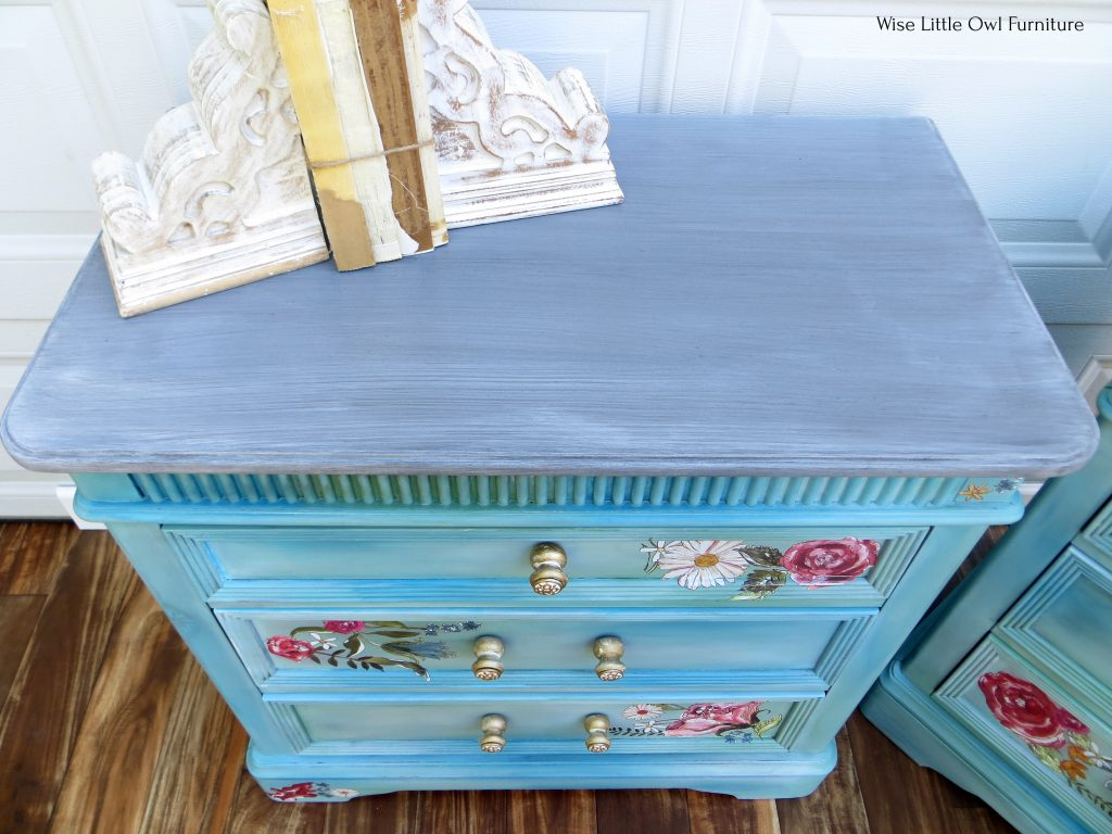 blue-green night stand top