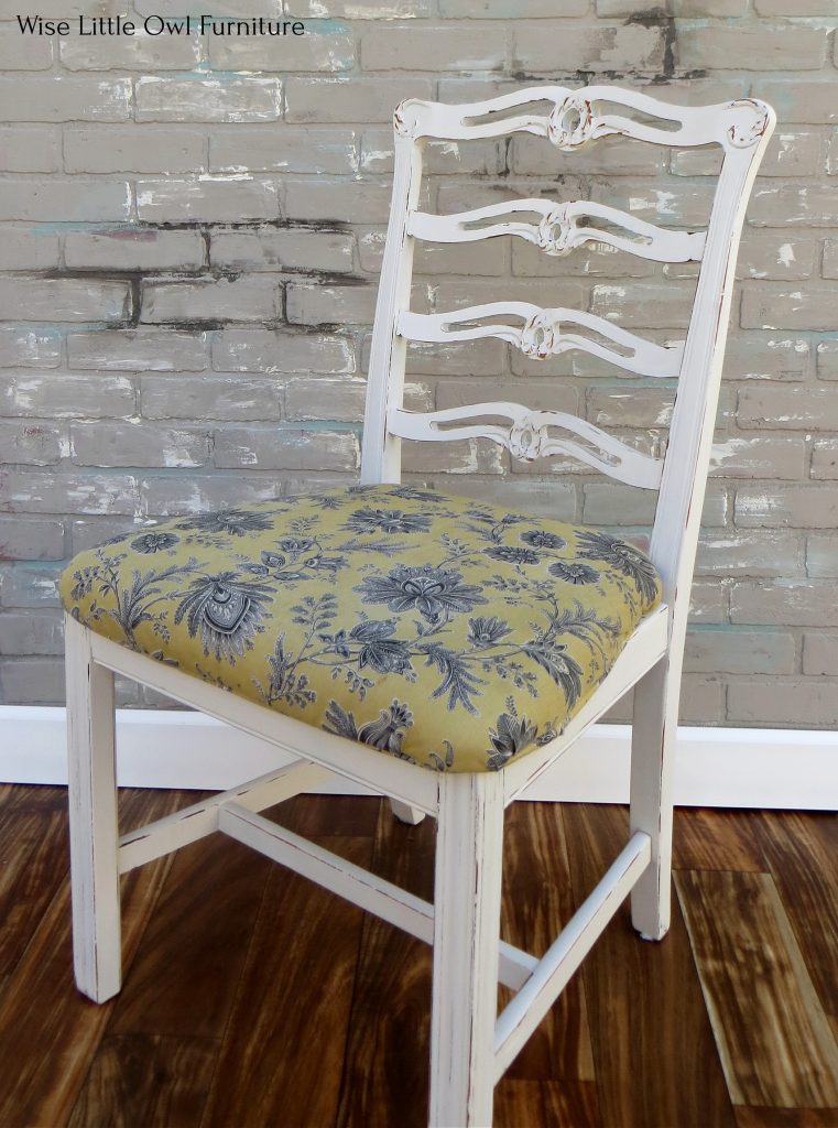 chalk painted dining chair after