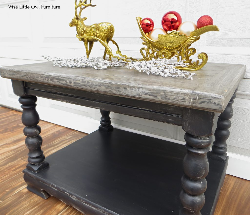 dark wood grain coffee table right angle