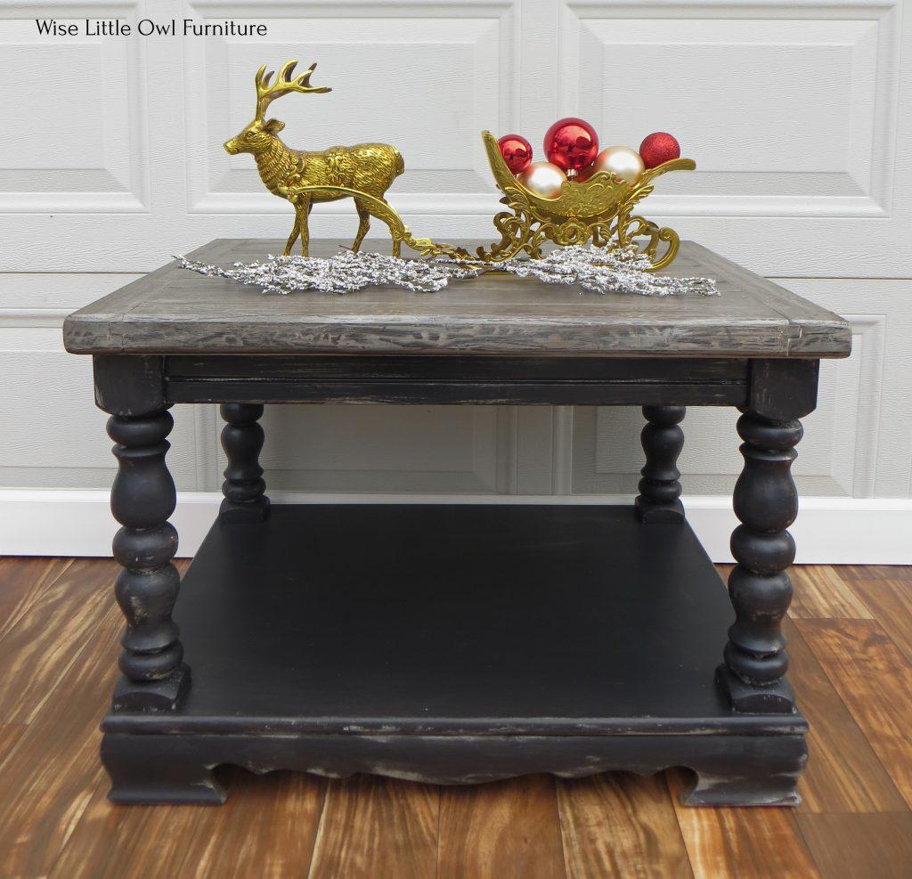 dark wood grain coffee table straight front