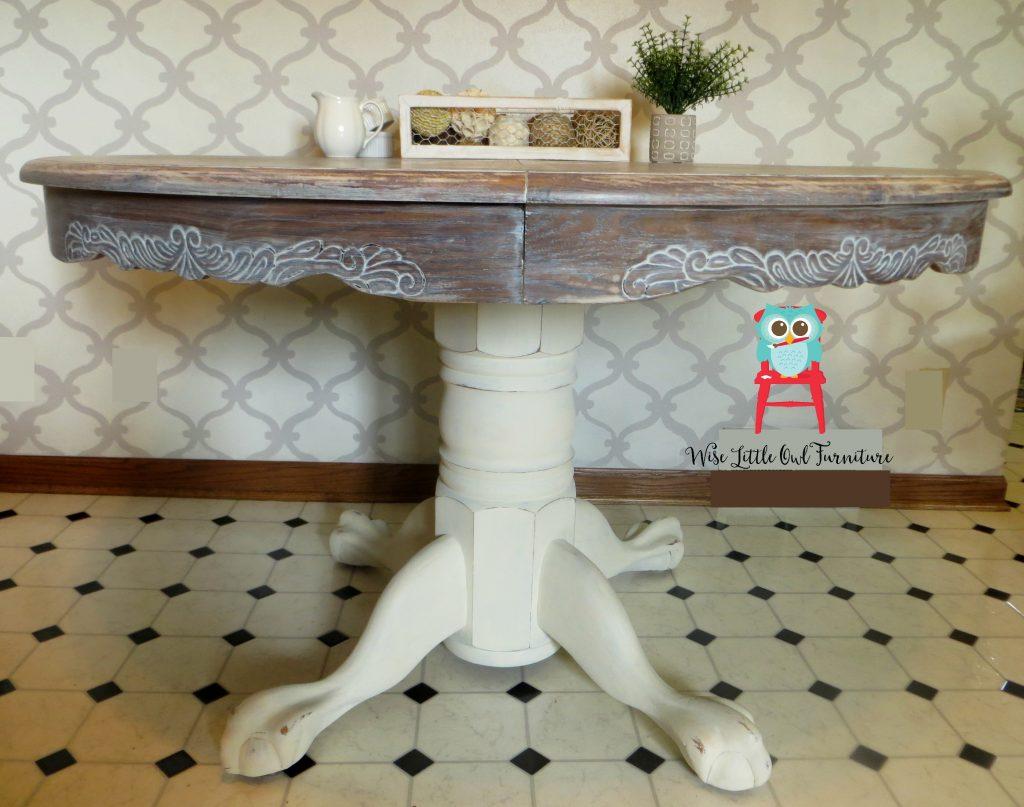 oak pedestal table before