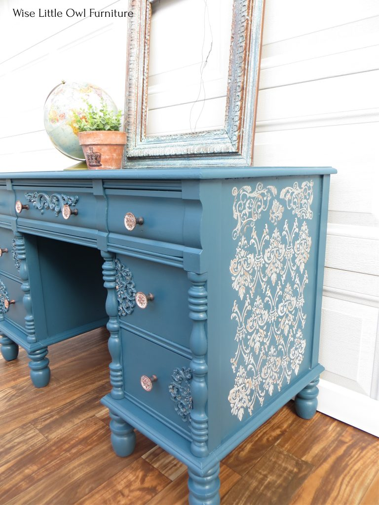 antique desk raised stencil