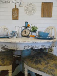 oak pedestal table makeover
