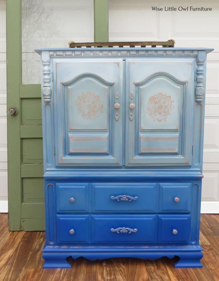 blue painted wardrobe wider front view