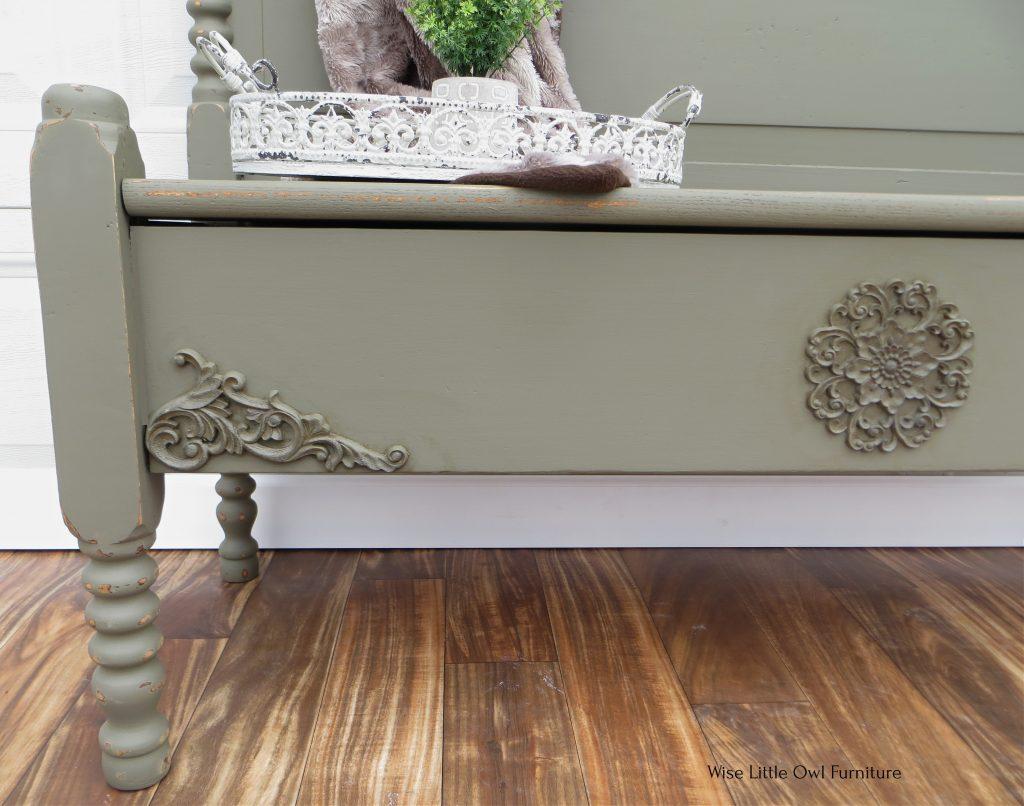 headboard bench applique closeup