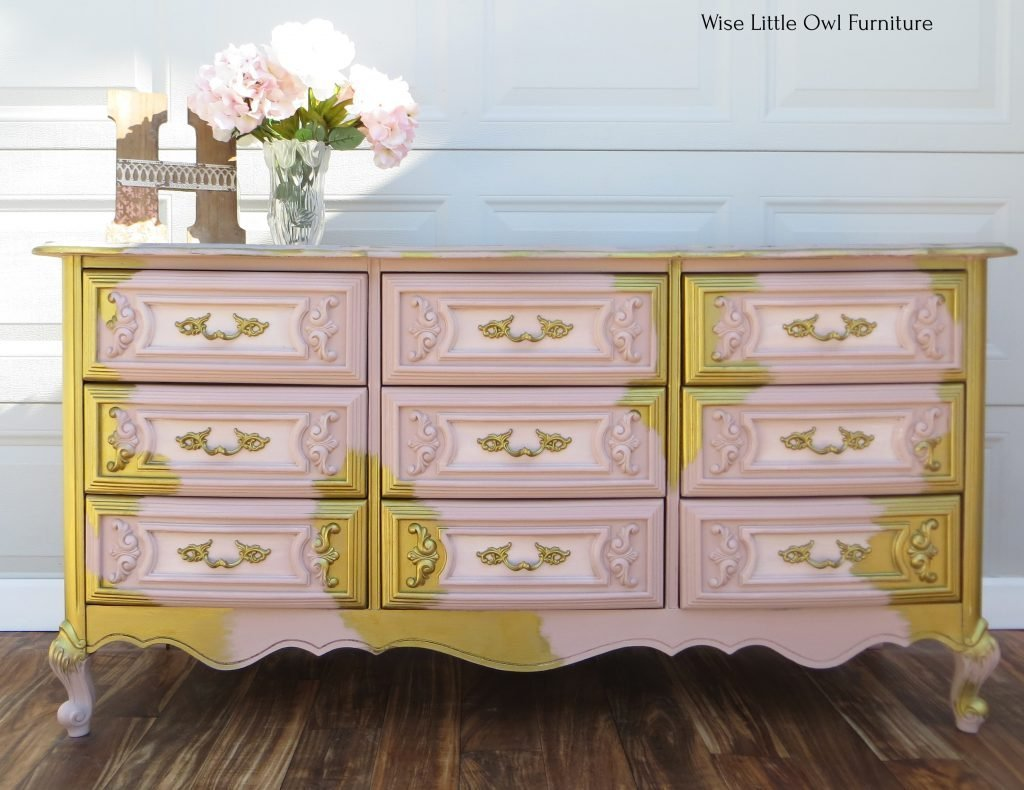 pink and gold dresser front