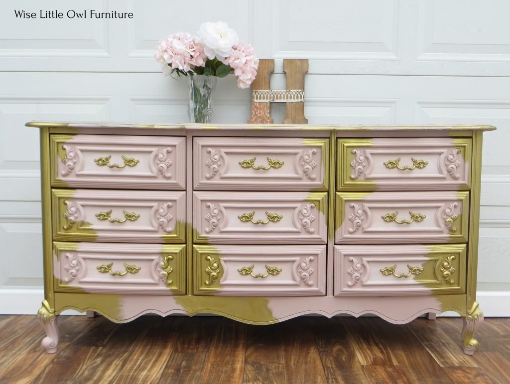 pink and gold dresser front2