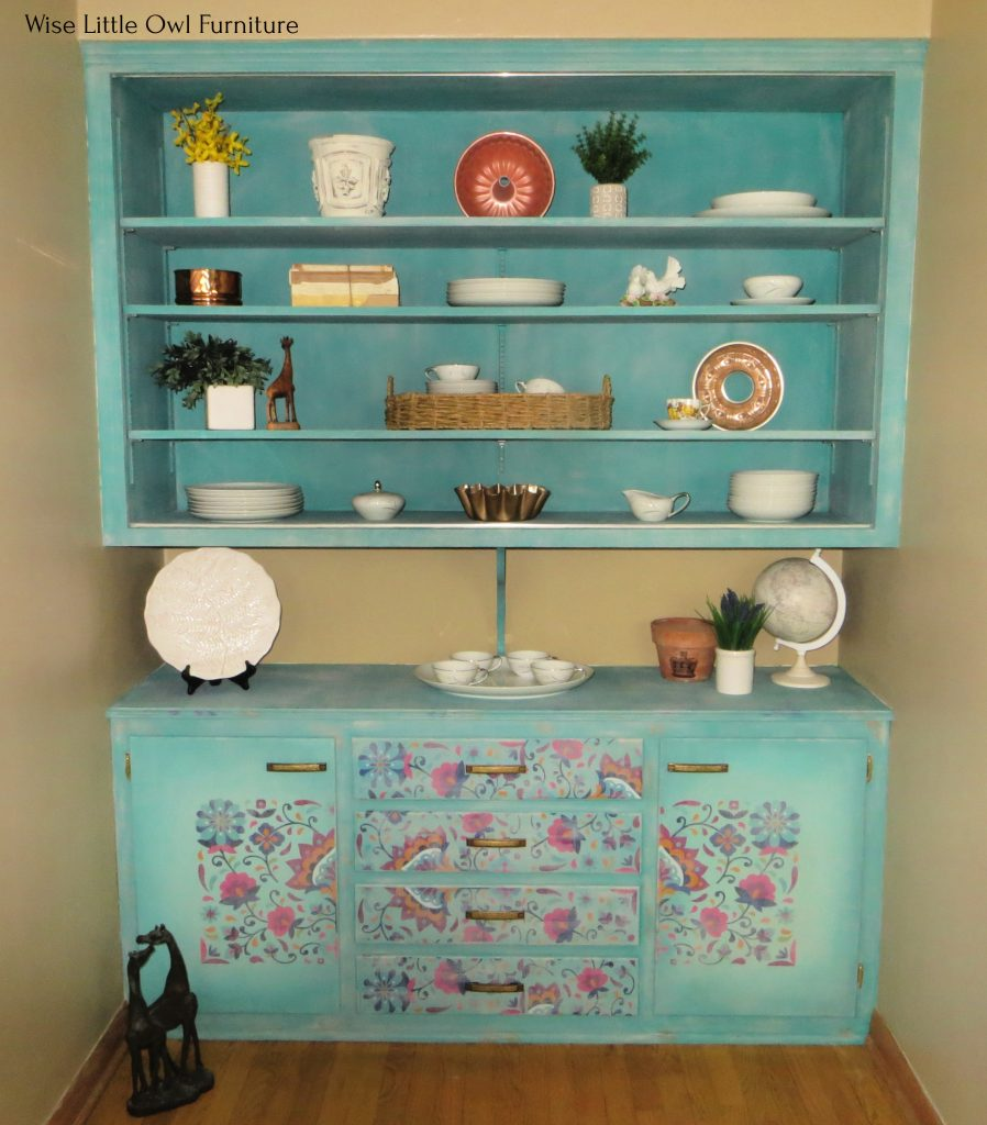 latin floral china cabinet