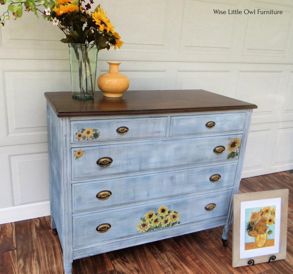 sunflower transfer dresser left view