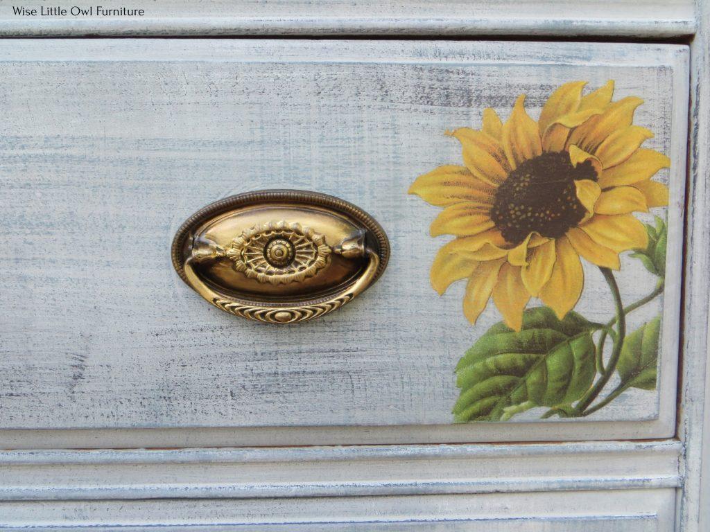 sunflower transfer dresser drawer